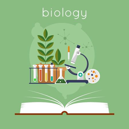 libro abierto: Libro abierto con herramientas para la biología. Educación. De vuelta a la escuela. Ilustración vectorial Diseño plano.