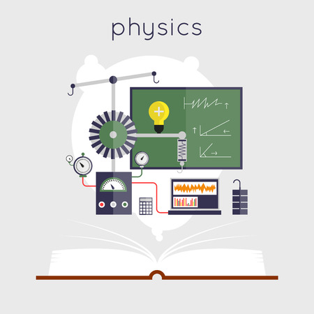物理学のためのツールで開いている本は。教育。学校に戻るフラットなデザインのベクトル図です。