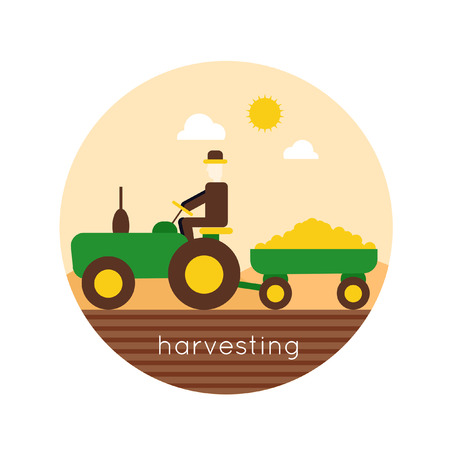agriculture machinery: Farm tractor vector logo design. Harvesting, agriculture. Flat design vector illustration Illustration