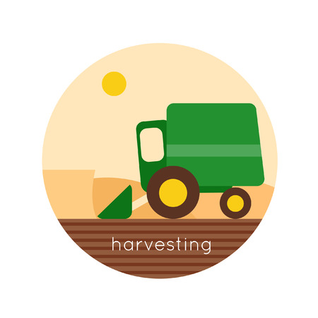 reaping: Combine reaps grain vector logo design. Harvesting, agriculture. Farm. Flat design vector illustration