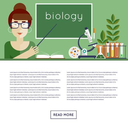 explains: Back to school. Biology Teacher explains the material. Flat design vector illustration. Illustration