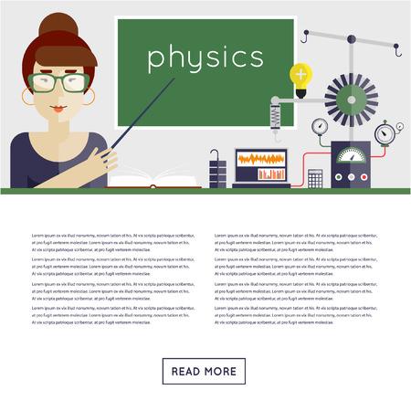 niños en la escuela: De vuelta a la escuela. Profesor de la física explica el material. Ilustración vectorial Diseño plano.