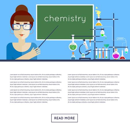 teachings: Back to school. Chemistry Teacher explains the material. Flat design vector illustration. Illustration