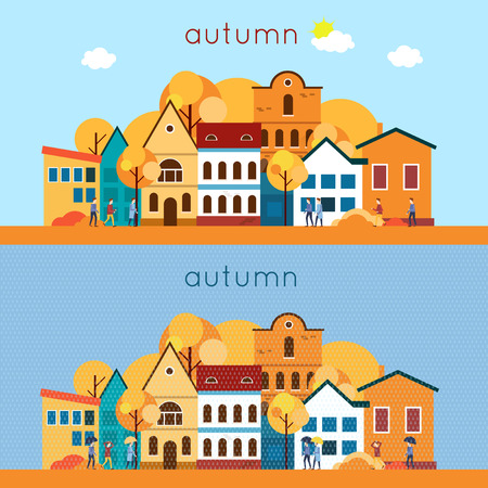 house drawing: Autumn urban landscape, the rain and sunny weather. 2 banners. Flat design vector illustration.