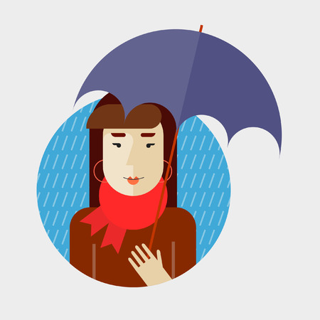 raining: Autumn girl holding an umbrella. Its raining. Flat design vector illustration.