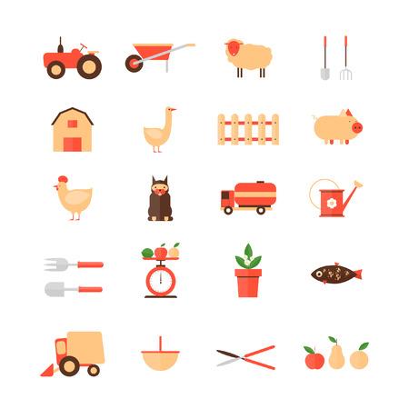 Farm set of icons. Harvesting, agriculture. Flat design vector illustration