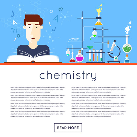 school class: Back to school, the student in chemistry class is reading textbook. Flat design vector illustration.