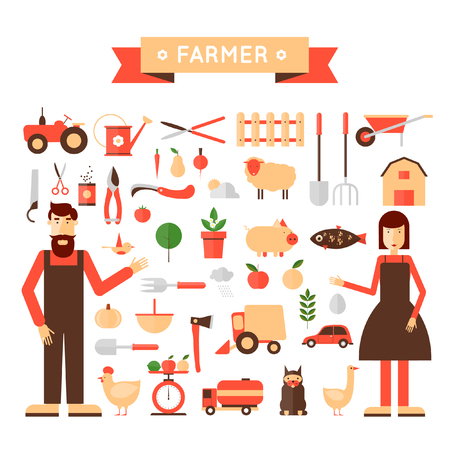 farmer: Farm set of icons. Farmers family. Harvesting, agriculture. Flat design vector illustration