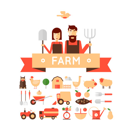 livestock: Farm set of icons. Farmers family. Harvesting, agriculture. Flat design vector illustration