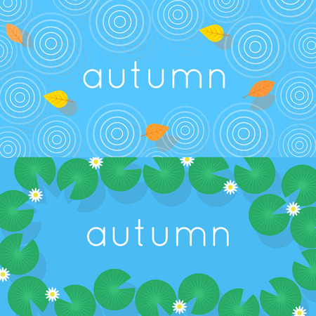 wet leaf: Autumn, fallen leaves on the water and the ripples from raindrops. Water lilies in the water top view. 2 banners. Flat design vector illustration.
