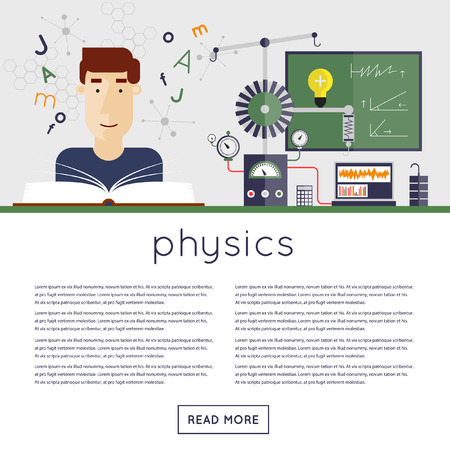 astronomie: Zurück in der Schule, die Schüler in der Physik-Klasse liest Lehrbuch. Flaches Design Vektor-Illustration.