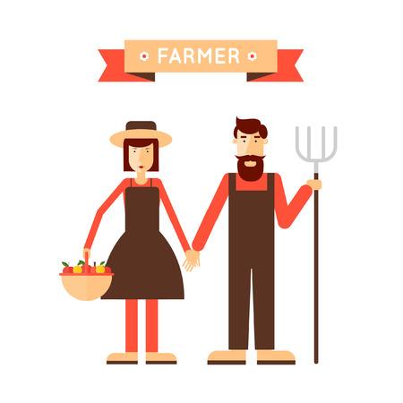 agrario: Farmer hombre y mujer. La recolecci�n, la agricultura. Dise�o plano ilustraci�n vectorial