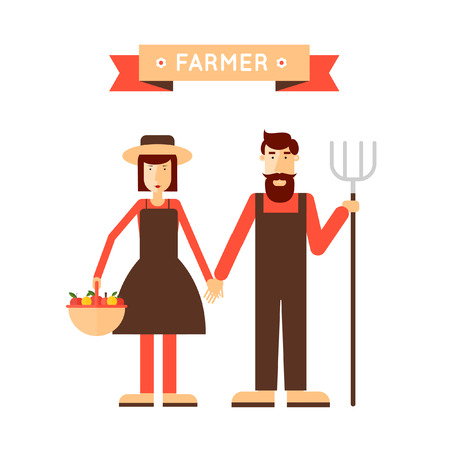 agrarian: Farmer man and woman. Harvesting, agriculture. Flat design vector illustration