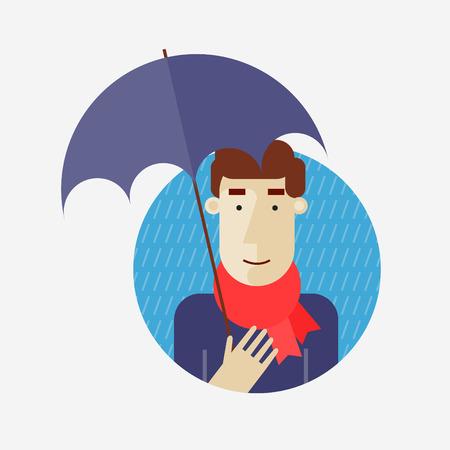 plant stand: Autumn, the rain, man holding umbrella. Flat design vector illustration.