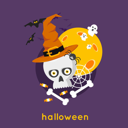 Happy halloween skull on the background of the moon with spider and bats. Halloween party. Flat design vector illustration.
