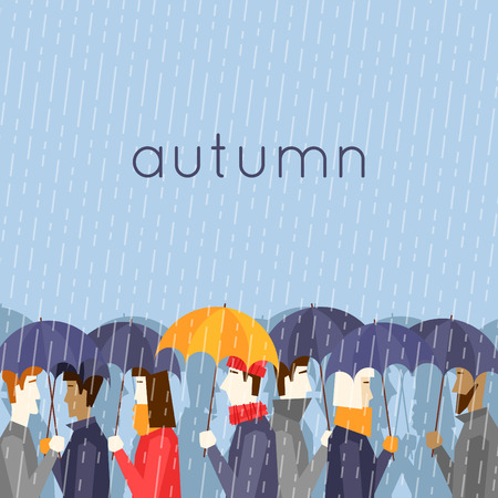 Autumn people with umbrellas the rain. Flat design vector illustration.