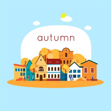 european: Autumn cityscape. Flat design vector illustration.