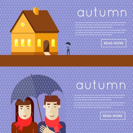 sotto la pioggia: Autunno un uomo e una donna sotto l'ombrello della pioggia, un uomo con un ombrello va a casa. Piatto progettazione illustrazione vettoriale.