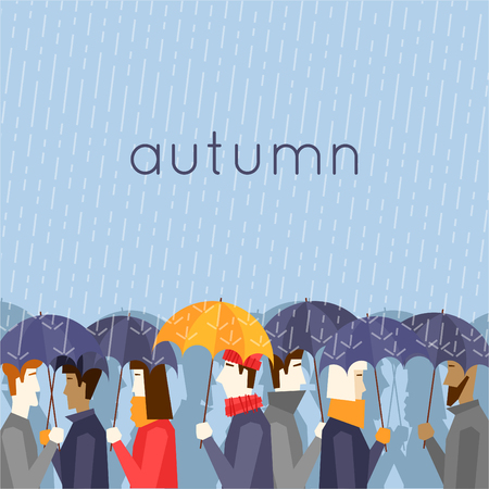 is cloudy: Autumn people with umbrellas the rain. Flat design vector illustration.