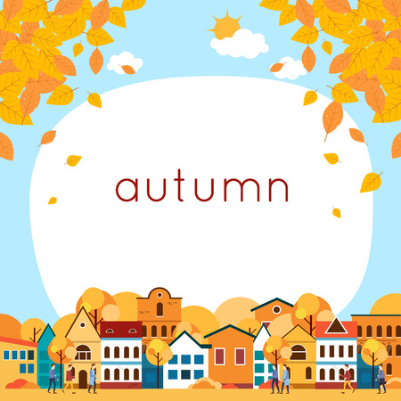 residential: Autumn cityscape with deciduous leaves. Flat design vector illustration.