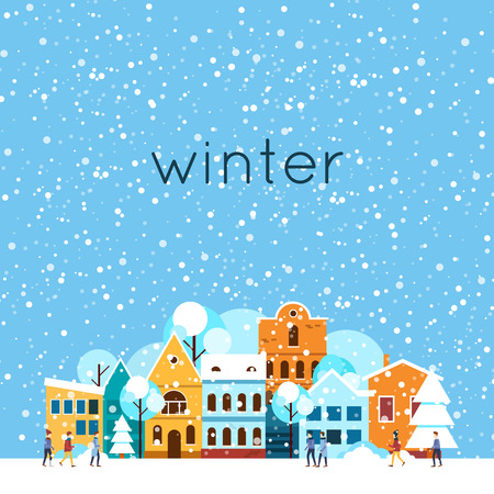 winter scene: Merry christmas and a happy new year. Winter landscape, winter in the city, it is snowing. Flat design vector illustration.