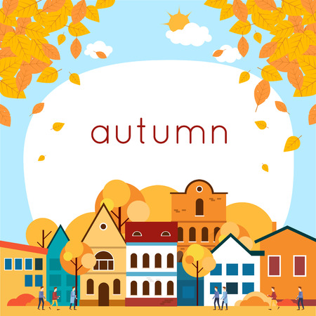 Autumn cityscape with deciduous leaves. Flat design vector illustration.
