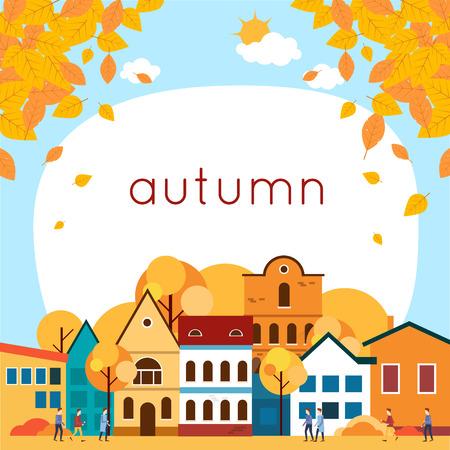 Herfst cityscape met blad bladeren. Vlakke ontwerp vectorillustratie.