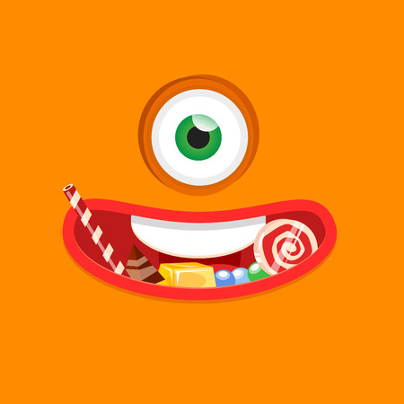 monster face: Halloween monster eating candy. Flat design vector illustration. Illustration
