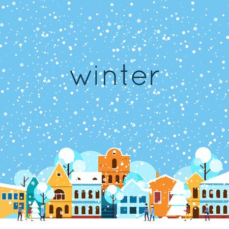 Frohe Weihnachten und ein glückliches neues Jahr. Winter-Landschaft, im Winter in der Stadt, es schneit. Flaches Design Vektor-Illustration. Vektorgrafik