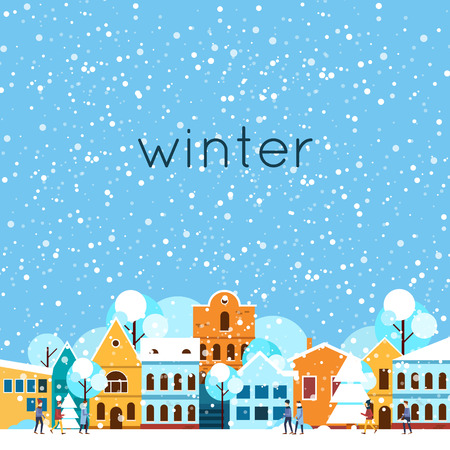 Vrolijk kerstfeest en een gelukkig nieuw jaar. Winterlandschap, de winter in de stad, is het sneeuwt. Platte ontwerp vector illustratie. Stock Illustratie