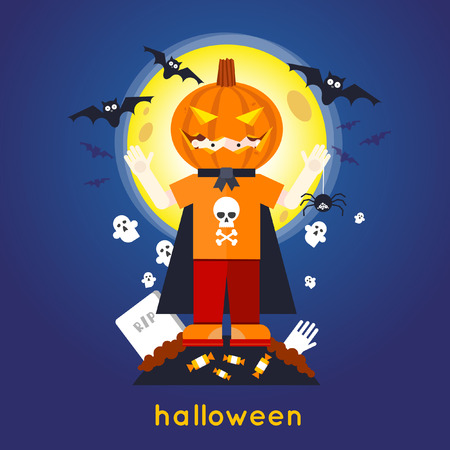 Happy halloween Boy in pumpkin mask on moon background with bats. Flat design vector illustration.