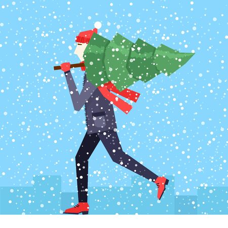 carries: Merry christmas and a happy new year A man carries a Christmas tree. Flat design vector illustration.