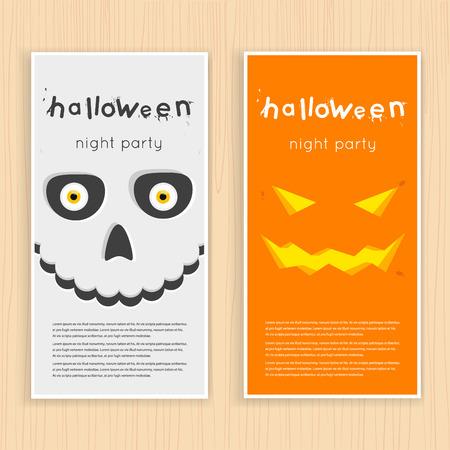 tete de mort: Affiche halloween heureux, bannière, fly-er. Citrouille et le crâne sur le fond de la lune avec des araignées et des chauves-souris. Fête d'Halloween. Design plat illustration vectorielle.