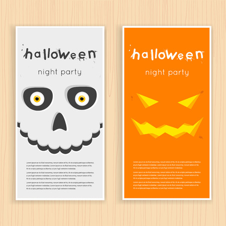 calaveras: Cartel feliz halloween, bandera, fly-er. Calabaza y cráneo en el fondo de la luna con la araña y los murciélagos. Fiesta de Halloween. Ilustración vectorial Diseño plano.