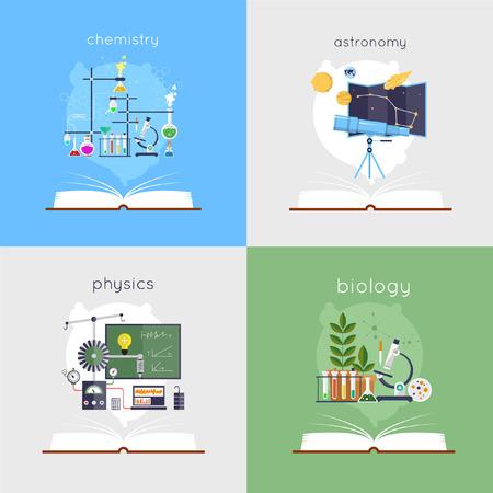 experimento: libro abierto con herramientas para la biología, la química, la física, la astronomía. Educación. De vuelta a la escuela. ilustración vectorial diseño plano.