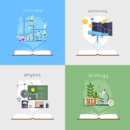 biology: Open book with tools for biology, chemistry, physics, astronomy. Education. Back to school. Flat design vector illustration.