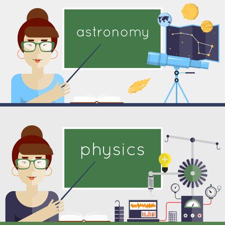 explains: Back to school. Physics, Astronomy, Teacher explains the material. Flat design vector illustration.