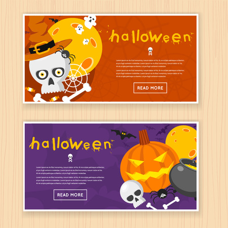 party design: Happy halloween poster, banner, fly-er. Pumpkin and skull on the background of the moon with spider and bats. Halloween party. Flat design vector illustration.