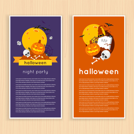 er: Happy halloween poster, banner, fly-er. Pumpkin and skull on the background of the moon with spider and bats. Halloween party. Flat design vector illustration.