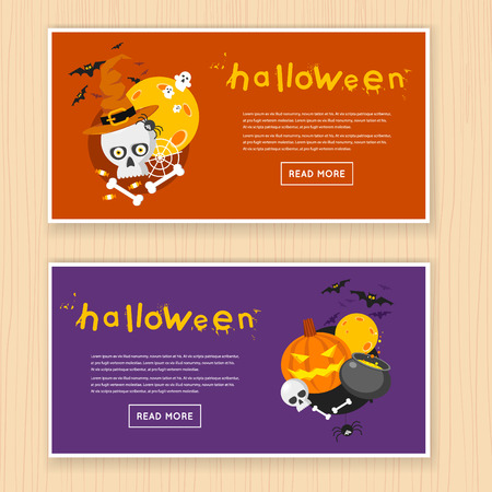 Moonlight lanterns: Happy halloween poster, banner, fly-er. Pumpkin and skull on the background of the moon with spider and bats. Halloween party. Flat design vector illustration.