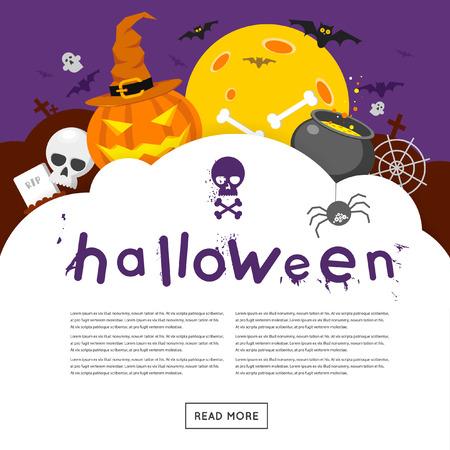 Gelukkig halloween affiche, banner, fly-er. Pompoen en schedel op de achtergrond van de maan met spin en vleermuizen. Halloween feest. Platte ontwerp vector illustratie. Stock Illustratie