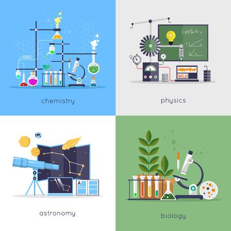 Natuurkunde, scheikunde, biologie, astronomie laboratorium werkruimte en wetenschap apparatuur concept. Platte ontwerp vector illustratie.