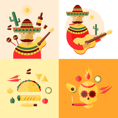 mexican background: Mexican skull and icons. Mexican food. Mexican playing the guitar in a landscape with cactus. Flat design vector illustration.