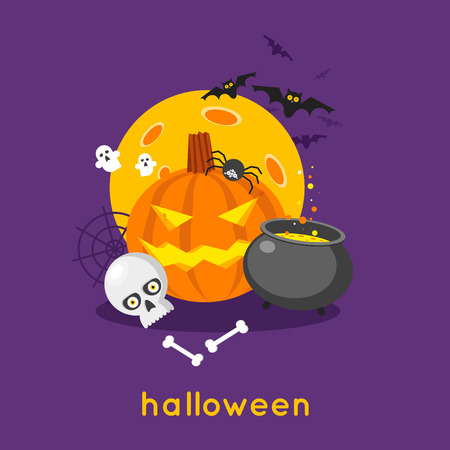 Happy halloween pumpkin and skull on the background of the moon with spider and bats. Halloween party. Poster, banner. Flat design vector illustration.