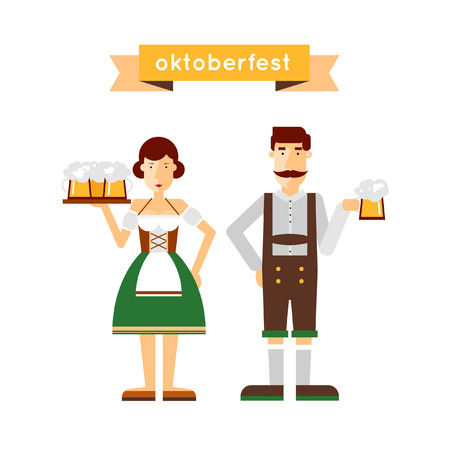 bavarian girl: Oktoberfest man and a woman holding a beer. Flat design vector illustration.