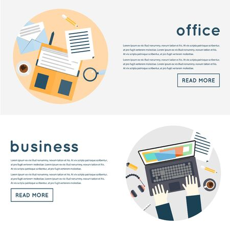 business equipment: Office Worker. Business work flow items and elements, office things, equipment, objects. Flat design. Workplace concept. Vector illustration. Isolated label. Freelancer. Composition in lap. Illustration