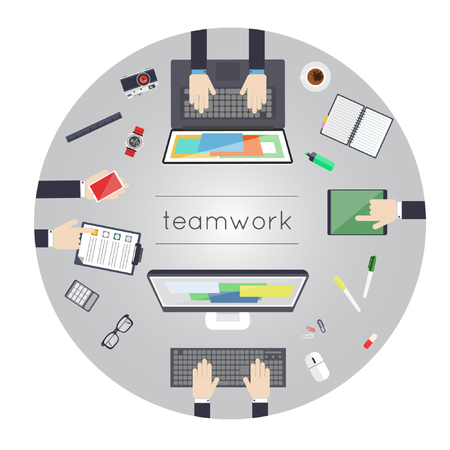 business work: Team work. Business strategy, planning, analytics, management, consulting, meeting, career. Development process. Top view. Flat design illustration.