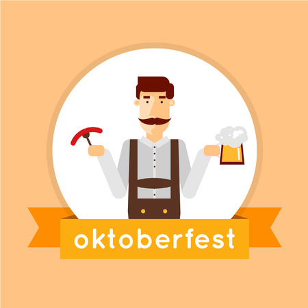 beerfest: Oktoberfest man holding a beer. Flat style vector illustration.