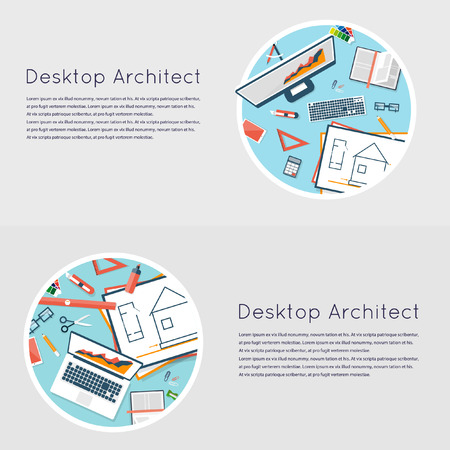 architectural team: Construction planning process flat design. Architects workplace. Architecture planning on paper top view. Architectural project, architectural plan, technical project. Engineering for building houses.