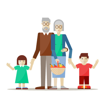 grandmother grandchild: Grandparents with grandchildren. Flat style vector illustration.